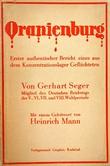 """""""Konsentrasjonsleiren Oranienburg første aut. beretning fra en tysk konsentrasjonsleir"""" av Gerhart Seger"""